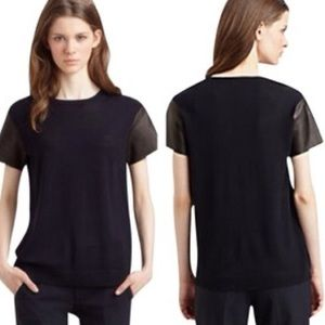 Vince Leather Short Sleeve T Shirt